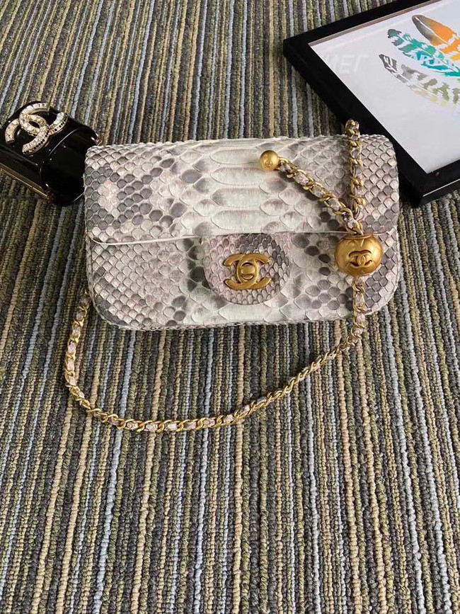 Chanel Original Small Snake skin flap bag AS1116 light grey