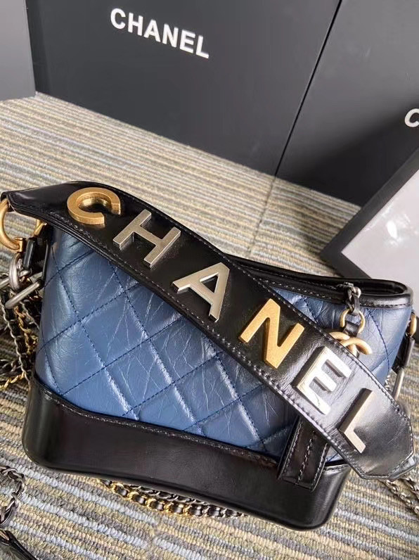 Chanel gabrielle small hobo bag S0865 blue&black