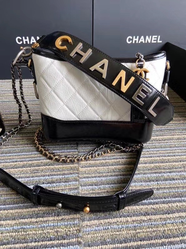 Chanel gabrielle small hobo bag S0865 white&black