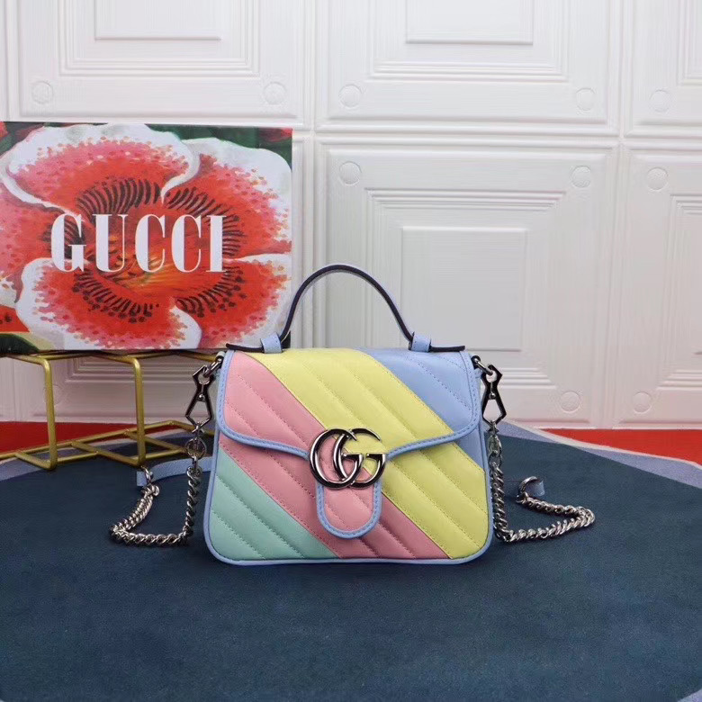 Gucci GG Marmont mini top handle bag 547260 Multicolored