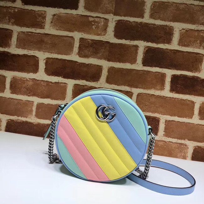 Gucci GG Marmont mini round shoulder bag 550154 Multicolored pastel