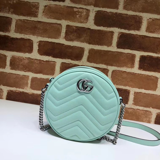 Gucci GG Marmont mini round shoulder bag 550154 Pastel green