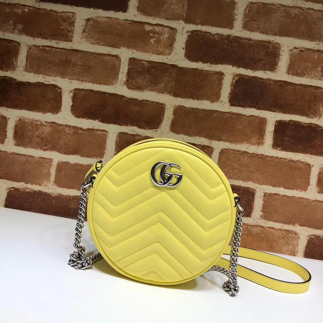 Gucci GG Marmont mini round shoulder bag 550154 Pastel yellow