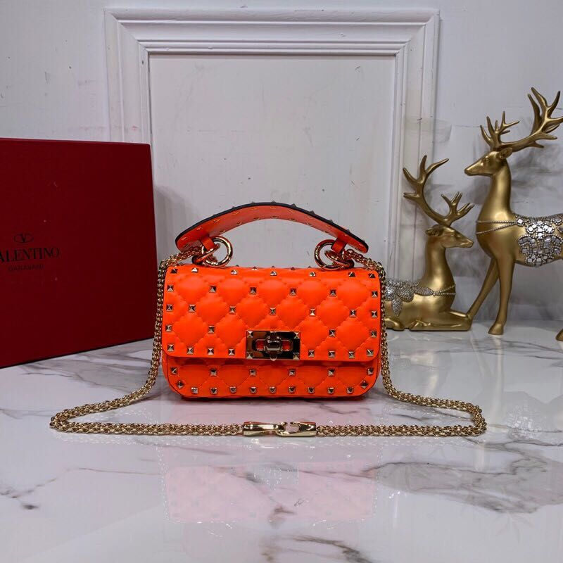 Valentino Garavani Rockstud Spike Original Leather Bag V0124 Orange