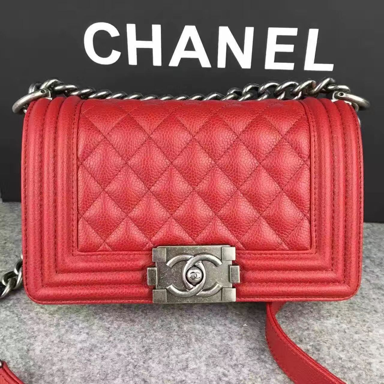 Chanel Le Boy Flap Shoulder Bag Original Cavier Leather A67085 Red Silver Buckle