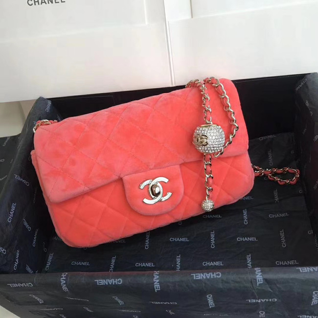 Chanel Original Small velvet flap bag AS1792 Watermelon red