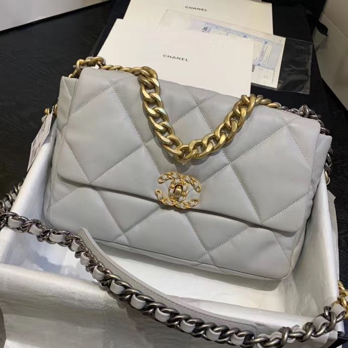 CHANEL 19 Flap Bag AS1160 AS1161 AS1162 Light Gray