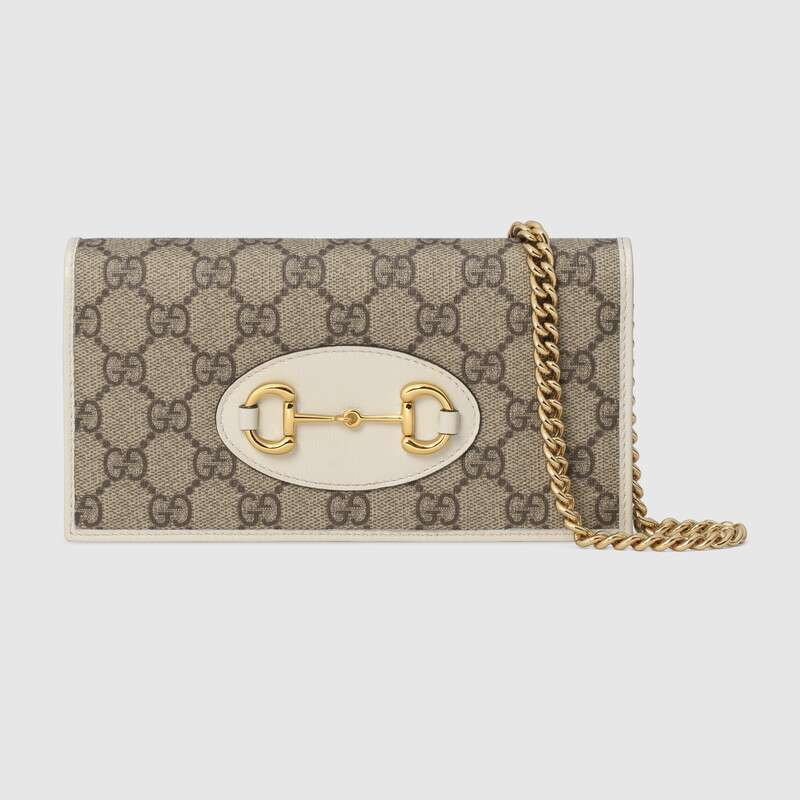 Gucci Horsebit 1955 wallet with chain 621892 white