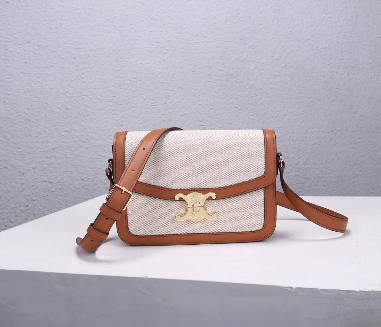 Celine TEEN TRIOMPHE BAG IN TRIOMPHE CANVAS AND CALFSKIN CL87368 white