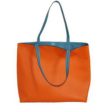 Hermes Shopping Bag 36CM Totes Clemence Orange with Blue