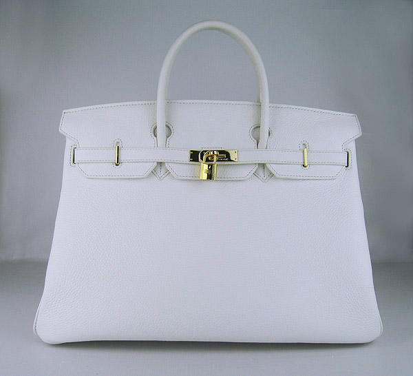 Hermes Birkin 40CM Togo Bag  White 6099 Gold