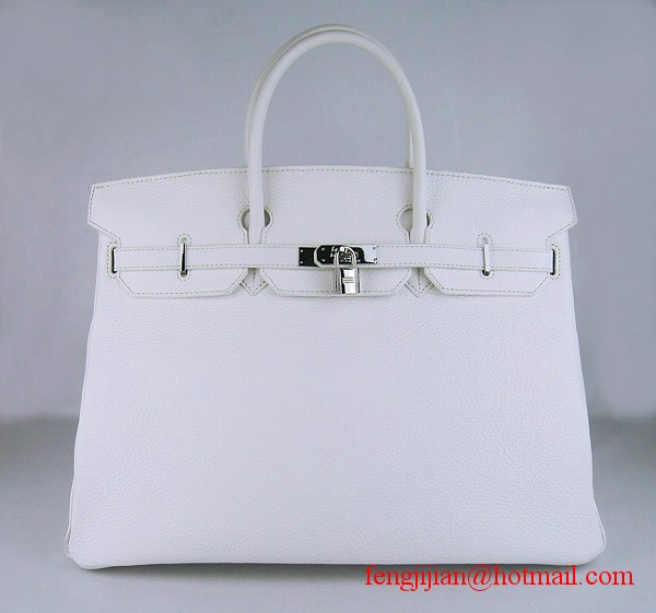 Hermes Birkin 40cm Togo Bag 6099 Light White silver padlock