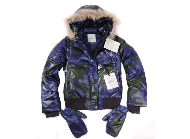 Moncler Branson Womens Down Jacket Blue