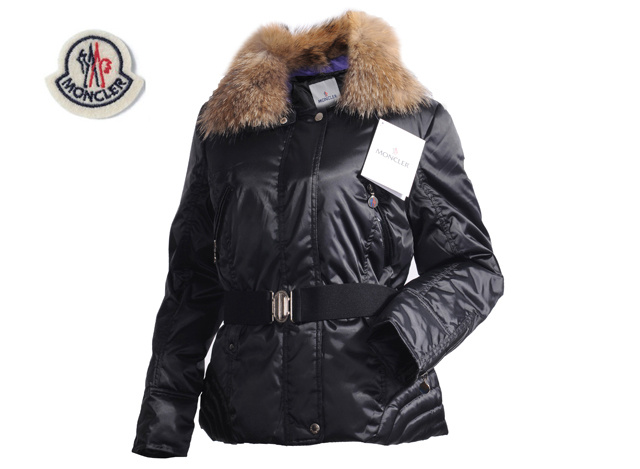 Moncler Womens Down Jacket Fine Hair Collar Black