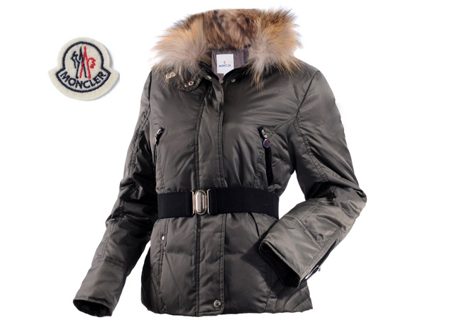 Moncler Womens Down Jacket Fine Hair Collar Dark Gray