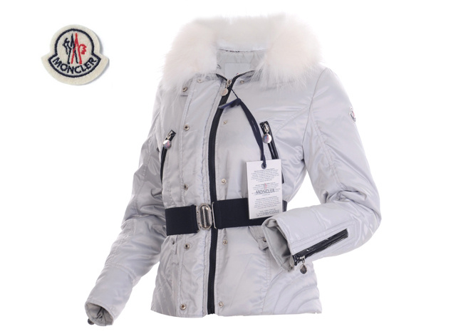 Moncler Womens Down Jacket Fine Hair Collar Gray