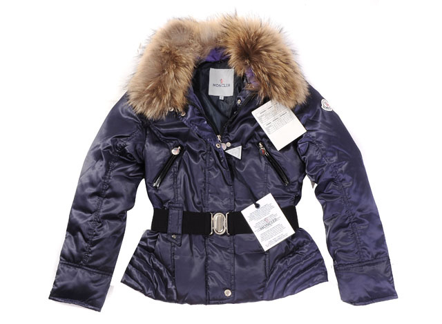 Moncler Womens Down Jacket Fine Hair Collar Navy