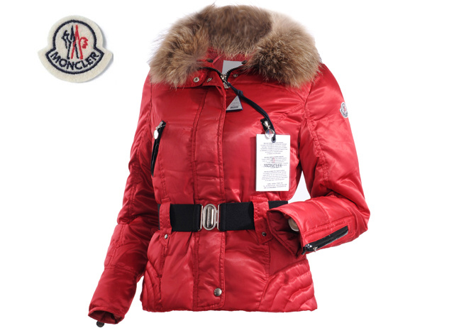 Moncler Womens Down Jacket Fine Hair Collar Red