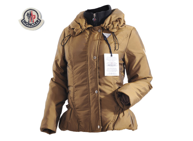 Moncler Womens Down Jacket Lapel Khaki