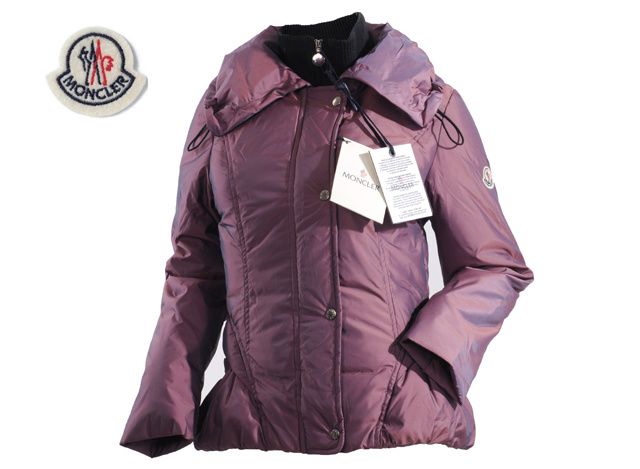 Moncler Womens Down Jacket Lapel Light Purple