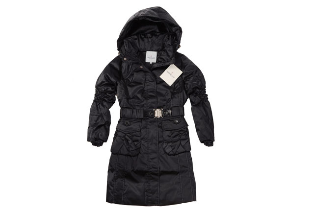Moncler Womens Long belt Down Coat Black