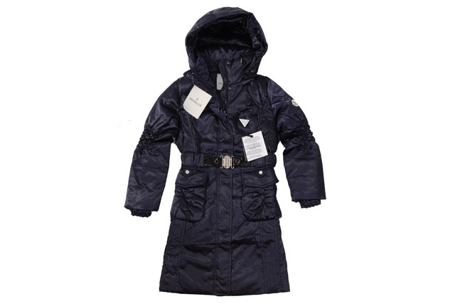 Moncler Womens Long belt Down Coat Blue