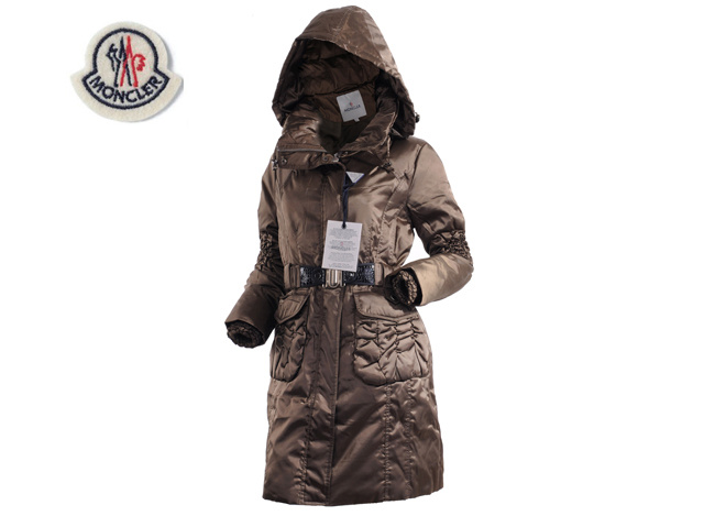 Moncler Womens Long belt Down Coat Coffee