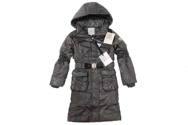 Moncler Womens Long belt Down Coat Grey