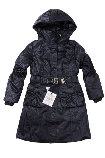 Moncler Womens Long belt Down Coat Navy