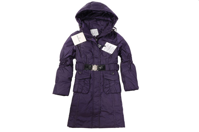 Moncler Womens Long belt Down Coat Purple