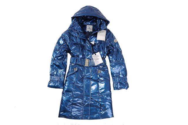 Moncler Ladies Long Belt Down Coat Blue