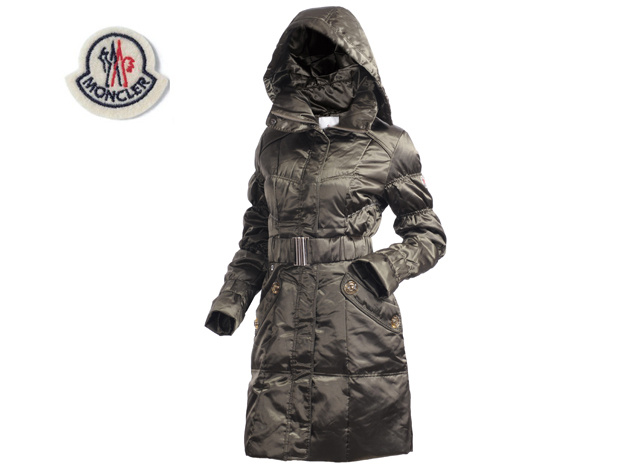 Moncler Ladies Long Belt Down Coat Green