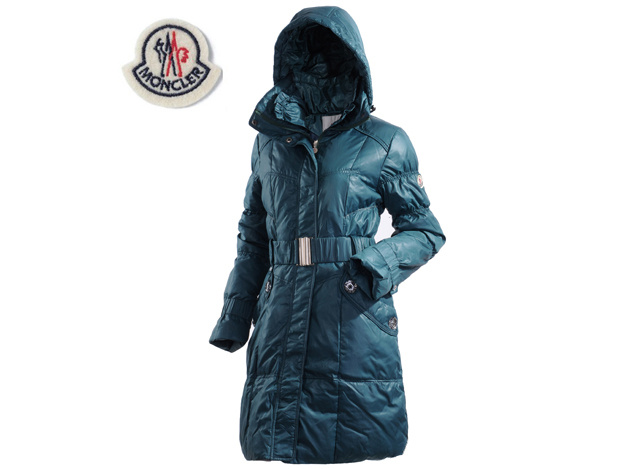 Moncler Ladies Long Belt Down Coat Light Blue