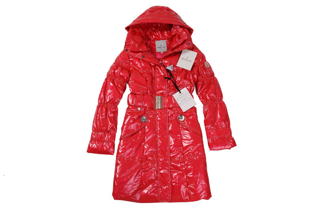 Moncler Ladies Long Belt Down Coat Light Red
