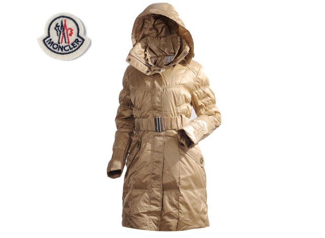 Moncler Ladies Long Belt Down Coat Light Yellow