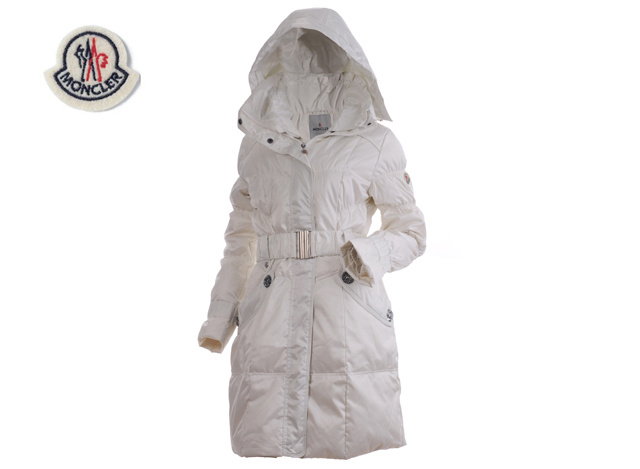 Moncler Ladies Long Belt Down Coat White