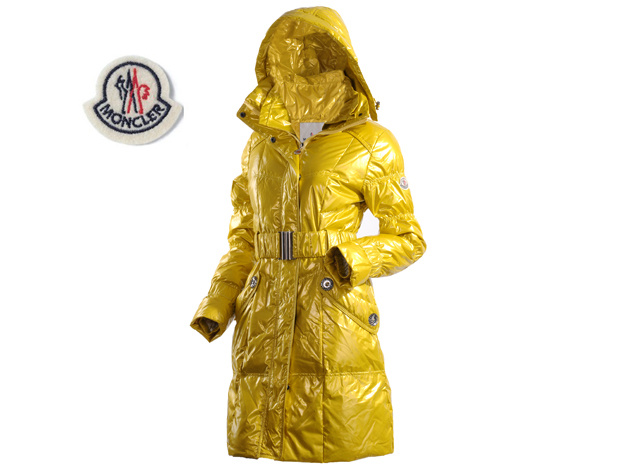 Moncler Ladies Long Belt Down Coat Yellow