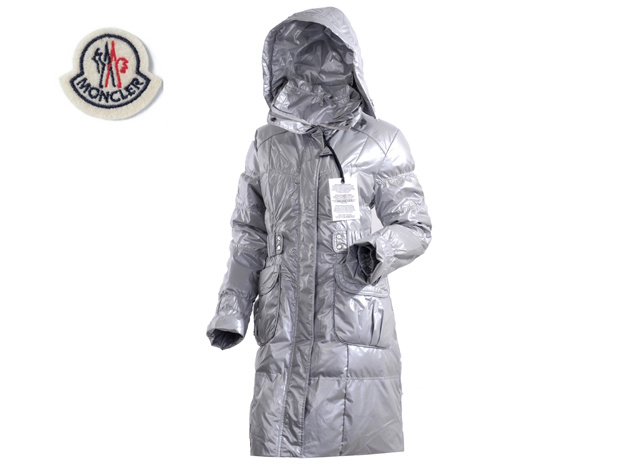 Moncler Ladies Long Down Coat Grey