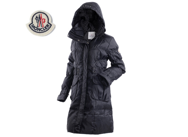 Moncler Ladies Long Down Coat Navy