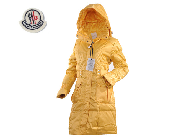 Moncler Ladies Long Down Coat Yellow